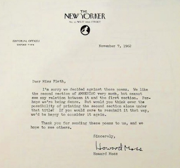 Plath Rejection Letter
